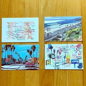 Louis Vuitton Rare Los Angeles Postcards / 4 total